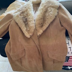 beautiful suede jacket with fox collar
